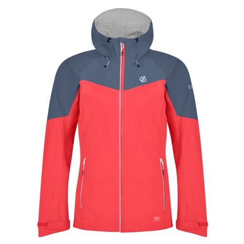 Dare2b Women's Reconfine Lightweight Hooded Waterproof Jacket Fiery Coral Meteor Grey